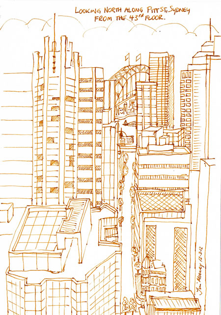 Pen and ink sketch down Pitt St