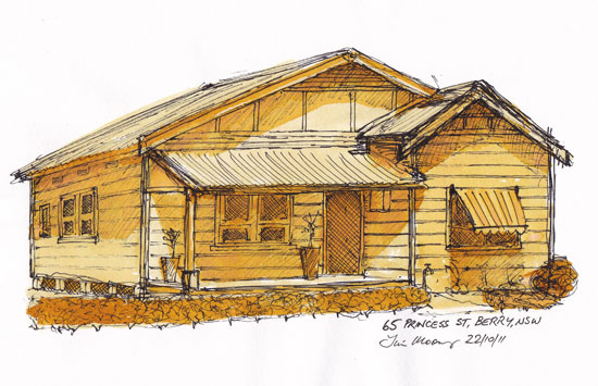 Pen and Ink wash of an old weatherboard house in Berry NSW