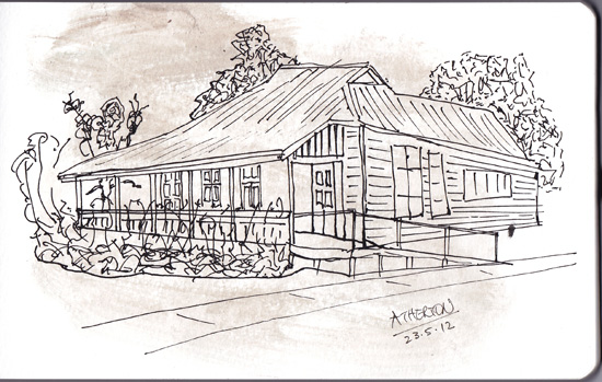 pen and wash of an  'old Queenslander' house in Atherton