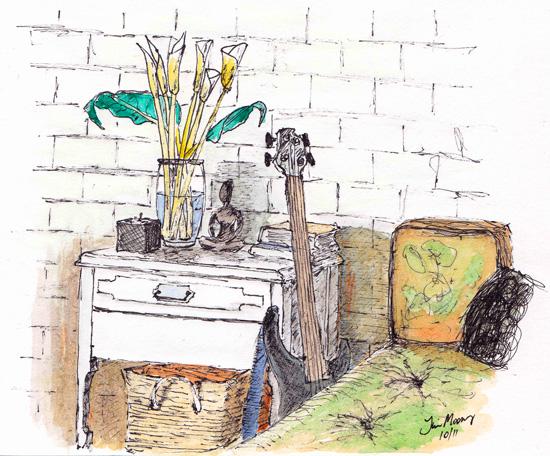 Corner sketch of furniture