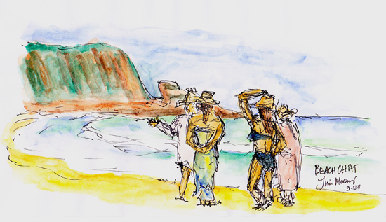 sketch of Ladies chatting on a beach