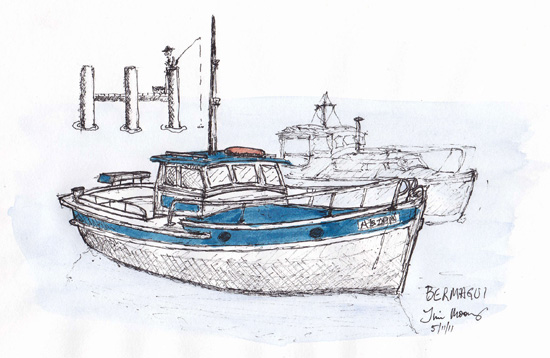 sketch of fishing boat