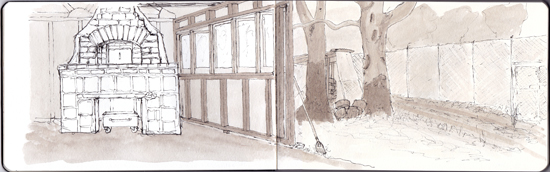 pano sketch of bread oven in pen and wash