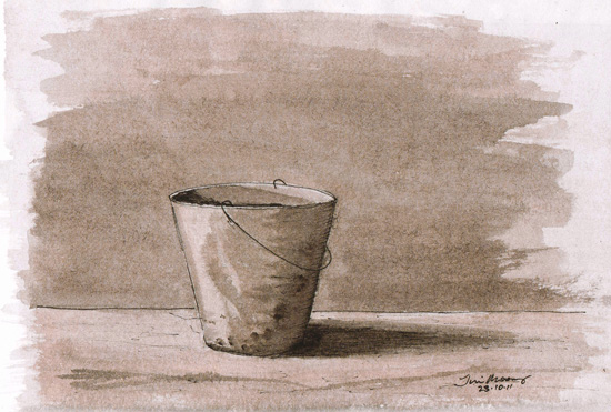 mono tone pen wash of a bucket