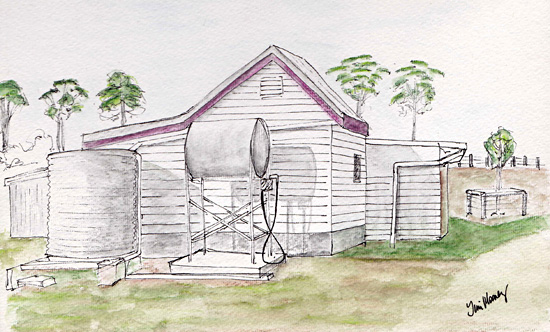 old farm dairy shed sketch