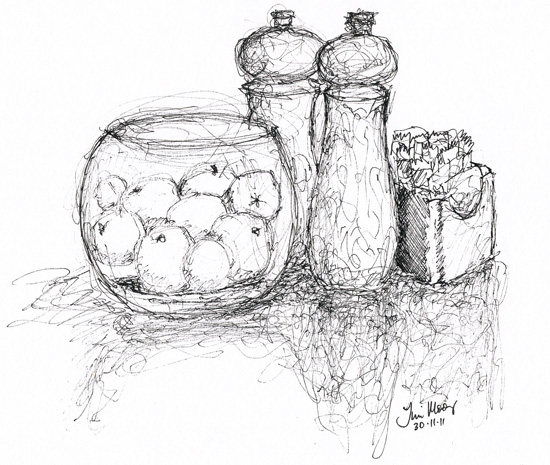 Still life bowl, pepper and salt shakers