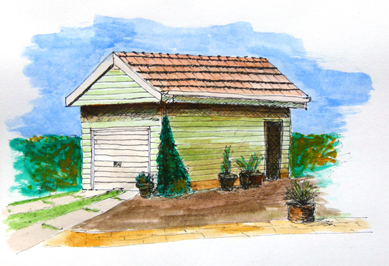 Painting of an old garage