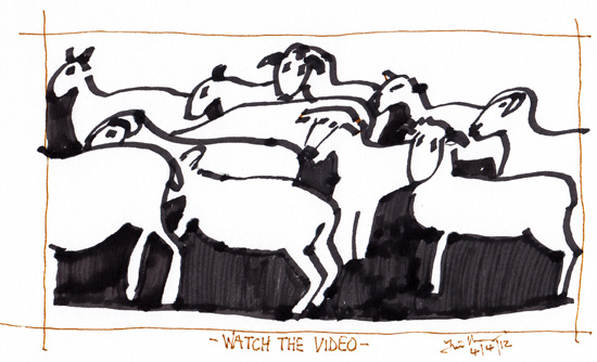 Black and white sketch of sheep herd