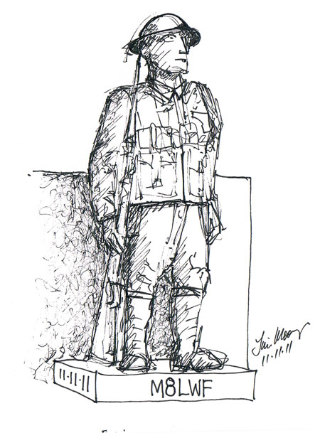 Sketch of bronze soldier statue