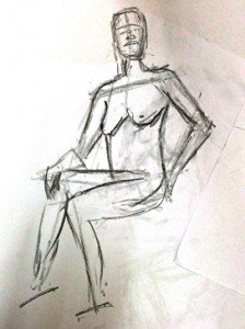 Charcoal sketch of nude figure