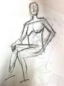 Charcoal sketch of nude figure