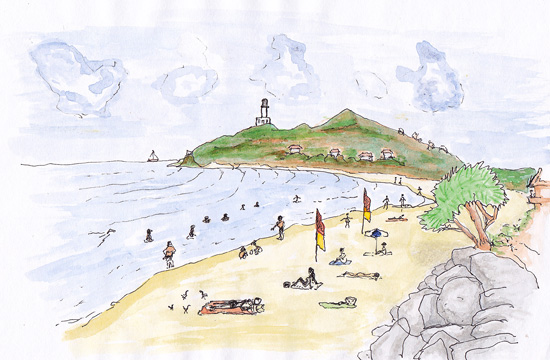 watercolour of Byron Bay main beach