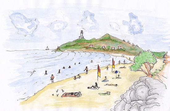 watercolour of Byron Bay main beach