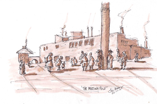 Pen and wash of a town square