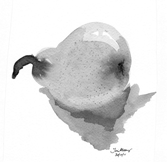 Brush and Ink of a pear