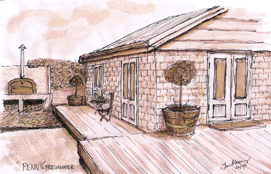 Pen and wash of sandstone cottage