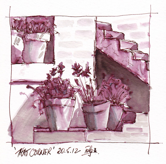 pen and ink wash of pots