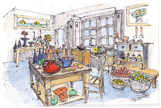 Busy kitchen with lots of produce. Sketch