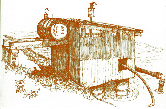 Sketch of pump house on River