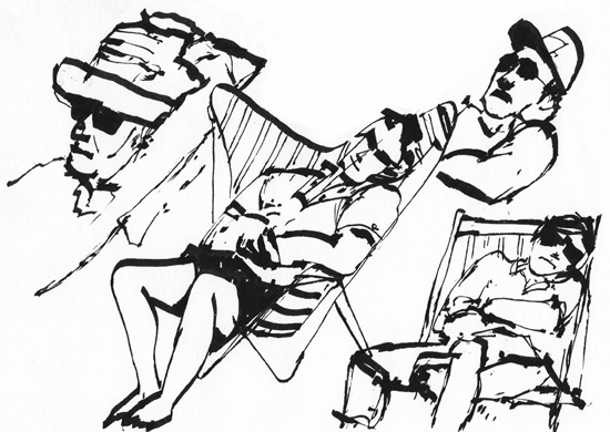 sketch of people asleep in chairs