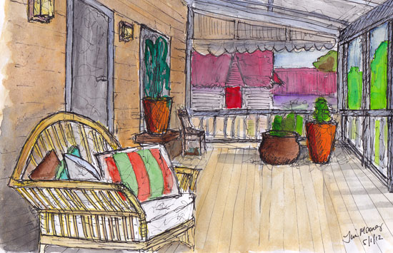Sketch of a chair on a country veranda