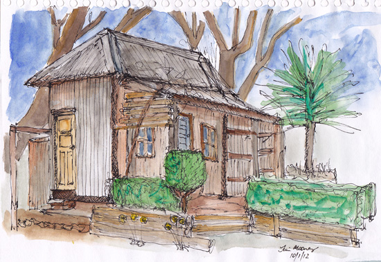 sketch of small shack