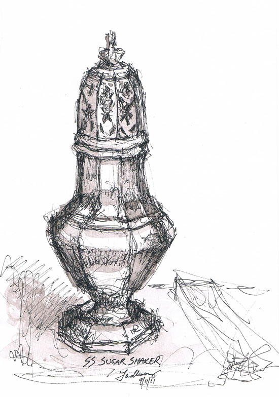 Pen and Wash of Sterling Silver Sugar Shaker