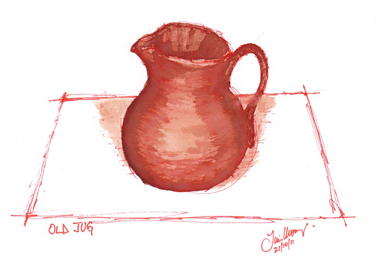 ink wash of a water jug
