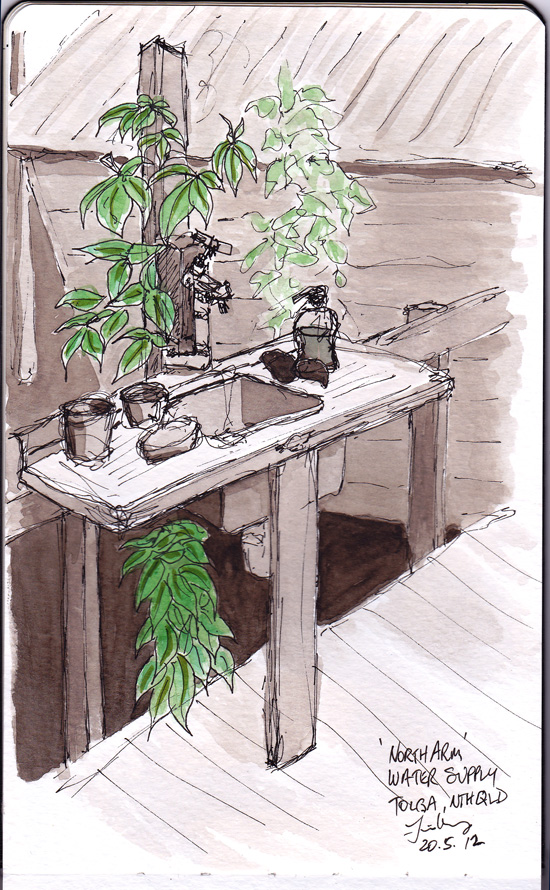 Sepia sketch of sink