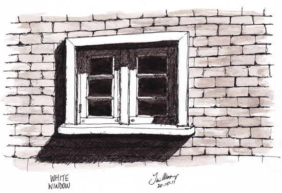 Pen and wash sketch of Window in brick wall