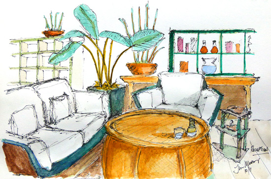 sketch of a relaxing reception area
