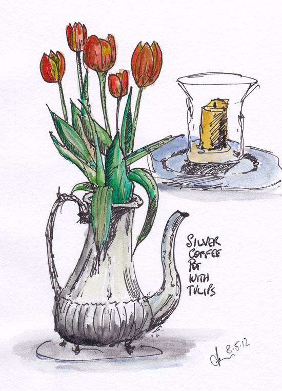 still life pen and wash of tulips in a coffee pot