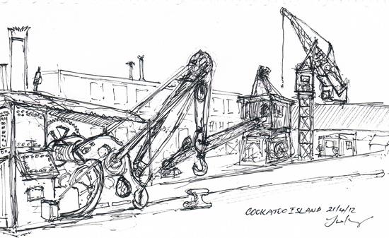 sketch of cranes