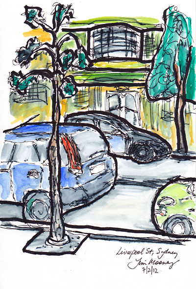 pen and wash of cars in the street