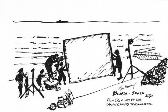 Line drawing of a flim crew set up