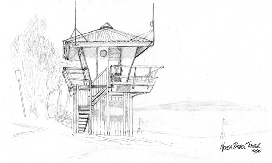 Sketch of Noosa Surf Lifesaving Patrol Tower