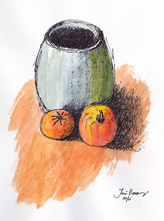 Vase, Orange and Apple painting
