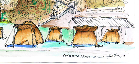 sketch of tents