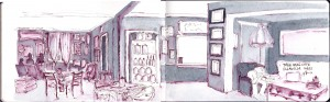 Pen and wash of a cafe interior