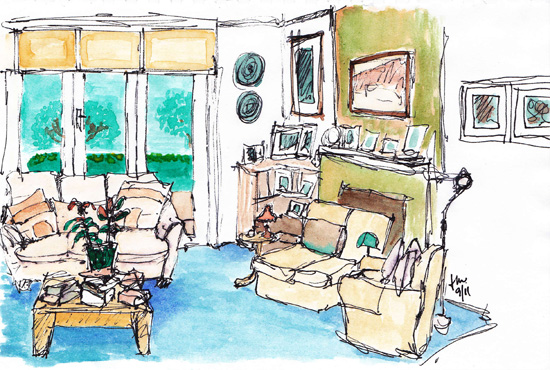 Pen and wash drawing of Betty's Lounge room