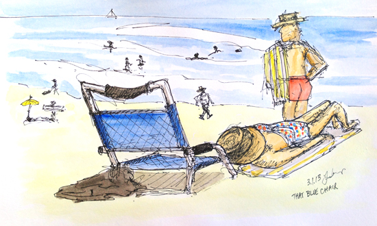 Blue Chair and people on the beach