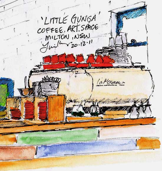 A sketch of the counter at a coffee shop: Little Gunga