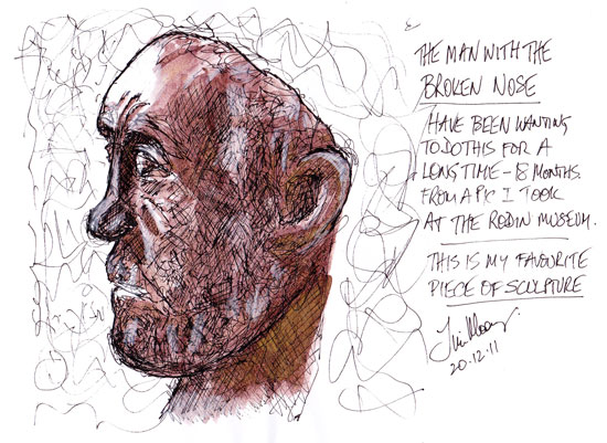 Sketch of a Rodin sculpture bust.