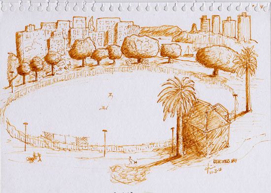 Sketch from a balcony high above Ruschcutters Bay oval.